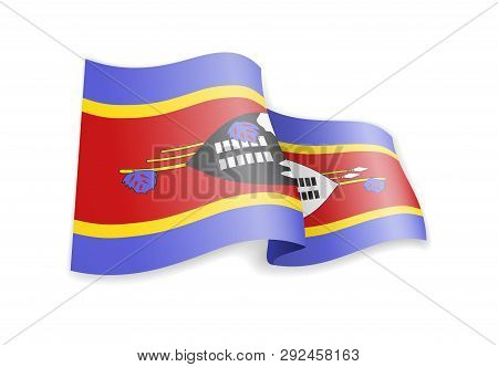 Eswatini Flag In The Wind. Flag On White Vector Illustration
