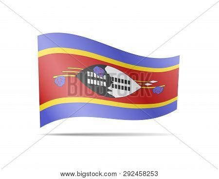 Waving Eswatini Flag In The Wind. Flag On White Vector Illustration