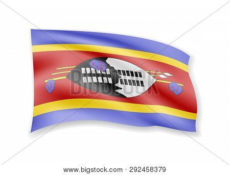 Waving Eswatini Flag On White. Flag In The Wind.