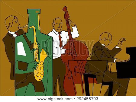 Jazz Band. Colorful Musical Illustration. Saxophone Player, Pianist Player, Contrabass Player. Music