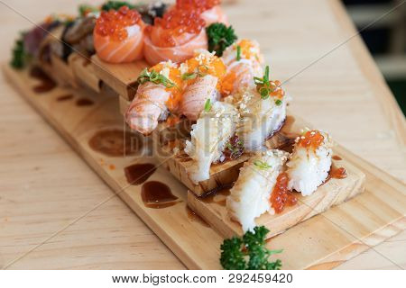 Japanese Sushi Food,close Up Of Sashimi Sushi Set On A Table In A Restaurant
