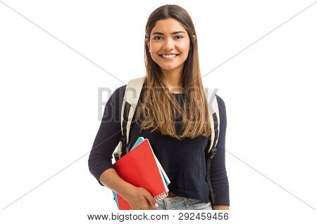 Smiling female student enhancing her future by attending regular lectures poster