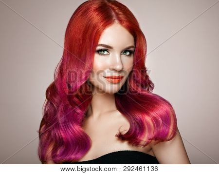 Beauty Fashion Model Woman With Colorful Dyed Hair. Girl With Perfect Makeup And Hairstyle. Model Wi