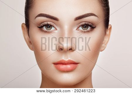 poster of Beautiful Woman with Extreme Long False Eyelashes. Eyelash Extensions. Makeup, Cosmetics. Beauty, Skincare