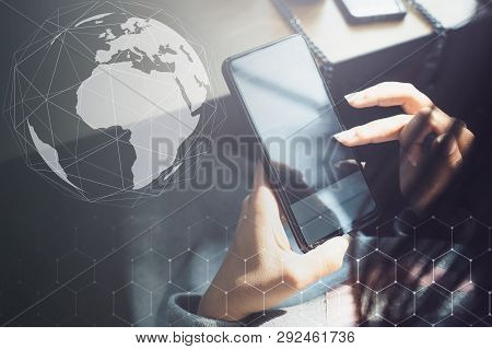 Hand Of Woman Using Smartphone On Wooden Table, Networking People And Social Network And Internet Co