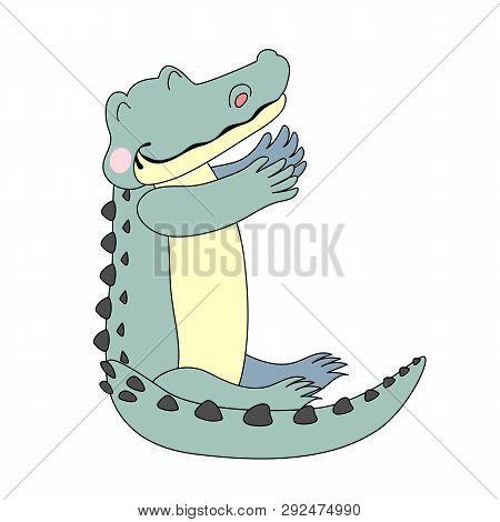 vector scandi cartoon animal clip art alligator gator croc poster