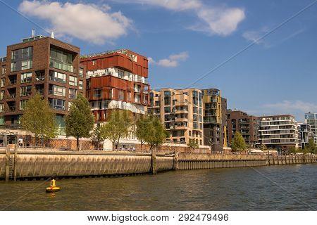 Hamburg, Germany - September 04, 2018: Modern Apartment Houses In The Waterfront, Hafencity Hamburg