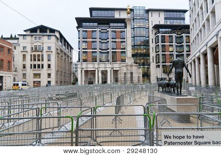 LONDON - JANUARY 11: Paternoster Square, next to Saint Pauls Cathedral, closed to avoid neighbouring tent city to spread. January 11, 2012 in London, England.