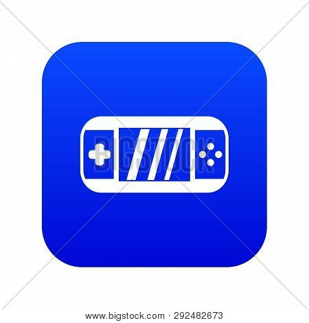 Portable Video Game Console Icon Digital Blue For Any Design Isolated On White Vector Illustration