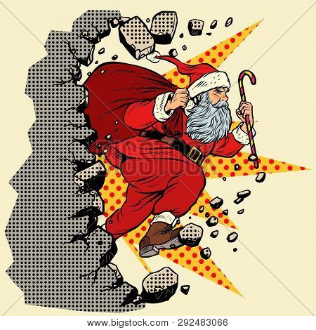 Santa Claus With Christmas Gifts Breaks The Wall. Pop Art Retro Vector Illustration Vintage Kitsch