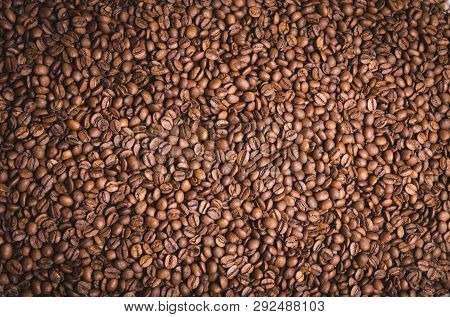 High Resolution Top View Close Up Macro Photo Of Look Delicious Dark Roasted Coffee Beans, Flash Lig