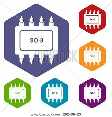 Transistor Microchip Icons Vector Colorful Hexahedron Set Collection Isolated On White