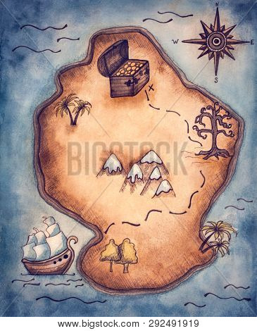 Pirate map for children party. Watercolor painting.