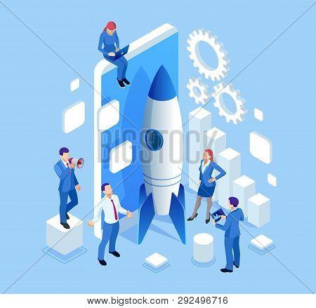 Isometric Businnes Startup For Web Page, Banner, Presentation, Social Media Concept Landing Page Des