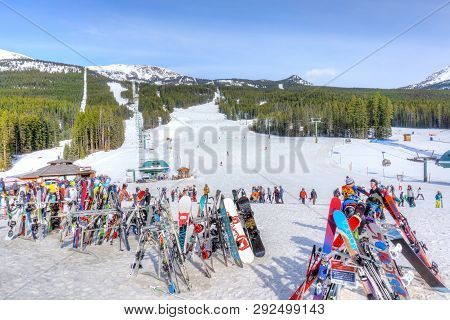 Lake Louise, Canada - Mar 23, 2019: Skis And Snowboards On Racks At Lake Louise In The Canadian Rock