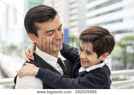 Father Single Dad And Son Fill Happy Hugging Son On Business District Urban, Dad And Son Happiness F