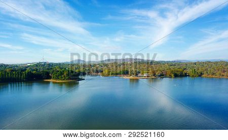 Panoramic View Of Canberra (australia) In Daytime, Featuring Lake Burley Griffin And Parliament Hous