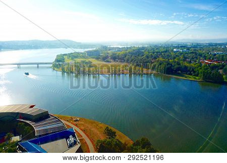 Panoramic View Of Canberra (australia) In Daytime, Featuring Lake Burley Griffin, Molonglo River And