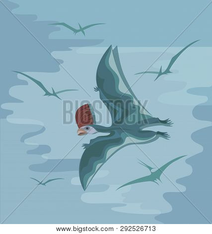 Prehistoric Pterosaur With A Red Crest In Flight. Poster, Illustration