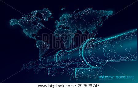 Oil Pipeline World Map Business Concept. Finance Economy Polygonal Petrol Production. Petroleum Fuel