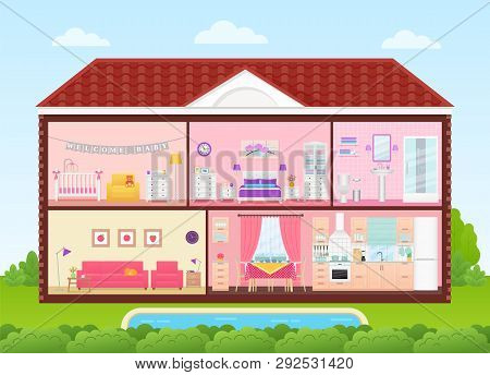 House Cross Section. Vector. Home Inside With Bedroom, Living Room, Kitchen, Dining, Bathroom, Nurse