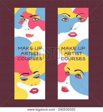 Woman Face Set Of Banners Vector Illustration. Beauty Design For Salon, Make Up Artist Courses Train