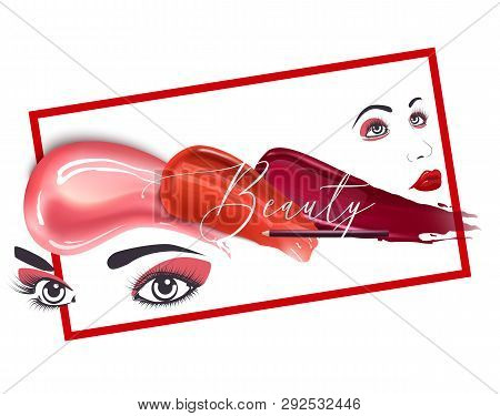 Woman Face Banner Vector Illustration. Beauty Design For Salon, Make Up Artist Courses Training. Cos