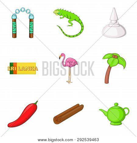 Sri Lankan Lifestyle Icons Set. Cartoon Set Of 9 Sri Lankan Lifestyle Icons For Web Isolated On Whit