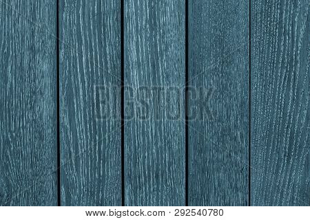 Gray And Blue Wooden Planks Of The Oak Table. Blue Painted Wooden Boards. Texture Of Pine Wood Backg