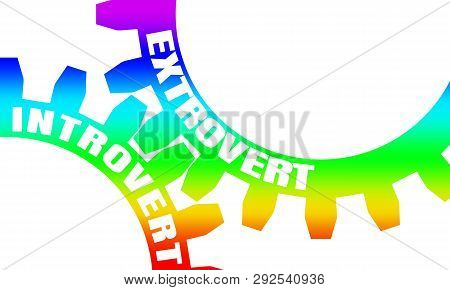 Extrovert And Introvert. Mechanism Of Gears. Communication Concept In Industrial Design. Modern Broc