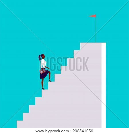 Business Concept Illustration With Business Lady  Walking Up The Stairs With Flag On It Isolated On