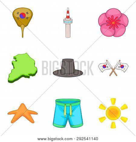 Korea Lifestyle Icons Set. Cartoon Set Of 9 Korea Lifestyle Icons For Web Isolated On White Backgrou