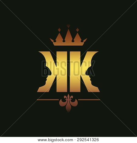 King Logo. Royal Luxury Emblem. Face And Crown Icon. Business Fantasy Golden Badge With Double K Let