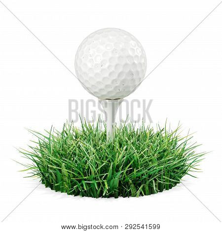 Golf Ball On Stand In Piece Grass. 3d Render On White Background