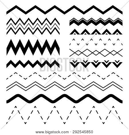 Wavy Zigzag. Wiggle Jagged Waves, Parallel Sinus Line Wave Border And Sine Zigzags Frame Vector Seam