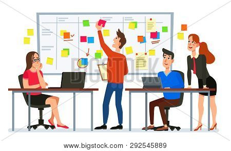 Scrum Board Meeting. Business Team Planning Tasks, Office Workers Conference And Workflow Plan Flowc