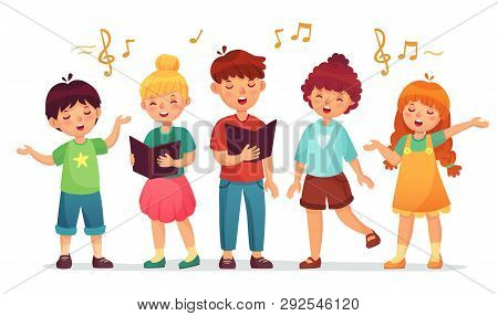 Singing Kids. Music School, Kid Vocal Group And Children Choir Sing Cartoon Vector Illustration