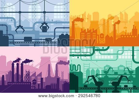 Industrial Factory Silhouette. Manufacture Industry Interior, Manufacturing Process And Factories Ma