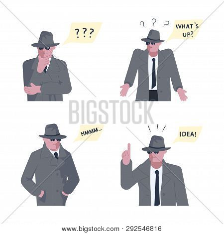 Set of Mysterious man wearing a gray hat and coat with a raised collar solves the riddle or problem. Speech bubble above. Human character isolated on white background. Flat Art Vector illustration poster