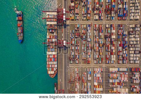 Aerial Top View Of Container Cargo Ship In The Export And Import Business And Logistics Internationa
