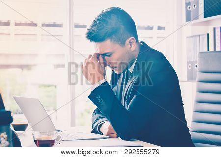 Business Man Stress Or Tension In Office With Burnout Syndrome At Desk Work Related Stress And Burno