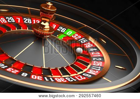 Luxury Casino Roulette Wheel On Black Background. Casino Theme. Close-up Black Casino Roulette With