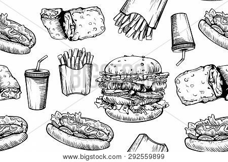 Burgers Seamless Pattern On White Background. Hand Drawn Hamburger And French Fries. Fast Food, Junk