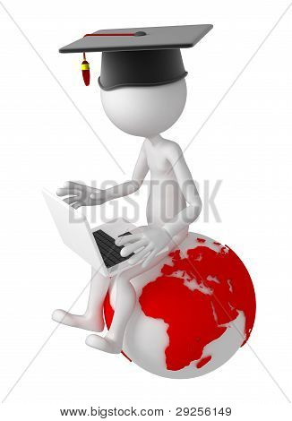 Student With Laptop Sitting On Top Of The Earth Globe