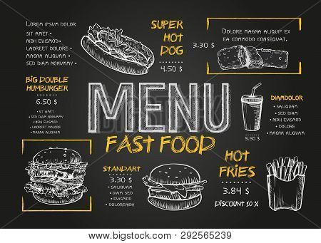 Fast Food Menu Cover Layout With Breakfast, Drinks, And Other Menu Items On Chalkboard. Fast Food Me