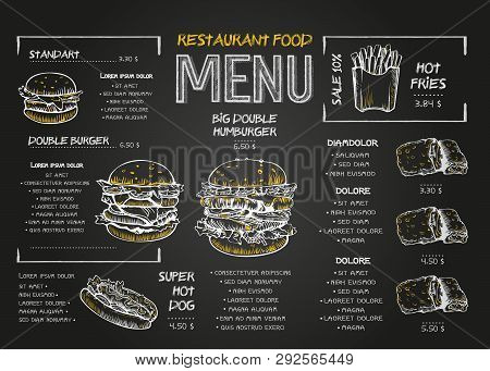 Restaurant Food Menu Design Template With Chalkboard Background. Vintage Chalk Drawing Fast Food Men