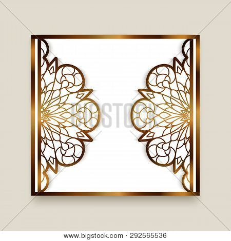 Vintage Gold Frame With Cutout Paper Border, Elegant Lace Pattern For Laser Cutting, Ornamental Gold