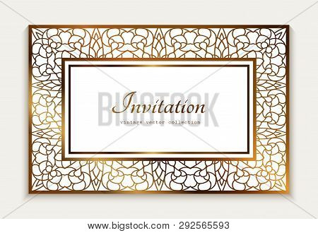 Vintage Gold Rectangle Frame With Ornamental Lace Border,  Template For Laser Cutting, Elegant Weddi