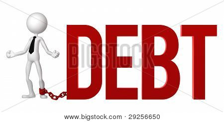 Businessman With A Foot Chained To A Debt Sign.