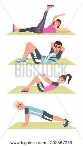 Happy People In Plank On Mat, Lifting Legs, Fitness Training And Sport Exercise Vector. People In Sp
